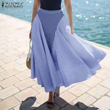 Skirts Elegant Striped Faldas Oversized Patchwork High-Waist Women's A-Line Saia Spring