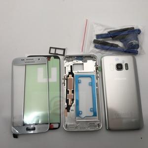 Image 3 - מלא שיכון Case חזרה כיסוי + מסך קדמי זכוכית עדשה + התיכון מסגרת לסמסונג גלקסי S7 G930F G930 מלא חלקי
