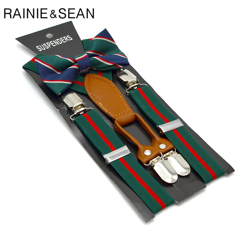 RAINIE SEAN  Boys Suspenders  Wedding Children Kids Baby Suspenders Bow Tie Set Santa Christmas Green Braces For Trousers