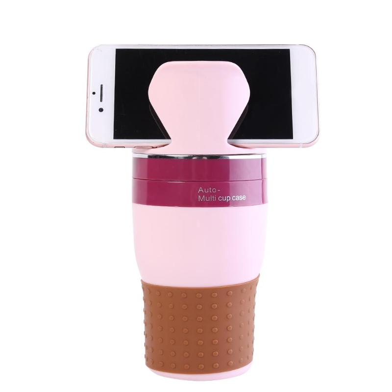 pink Car Drink Bottle Multi Cup Holder Auto Organizer Sunglasses Keys Cell Phone Holder Multifunctional