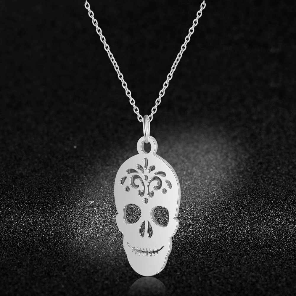 Jakość AAAAA 100% ze stali nierdzewnej unikalny czaszki urok naszyjnik dla kobiet Super moda Charm biżuteria hurtowych specjalny prezent