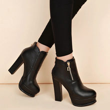 Women Sexy High Heels Platform Chunky Shoes Woman Female Martin Boots Block Thick Flock Ankle 32