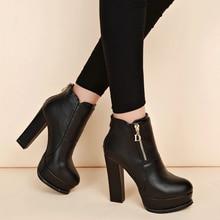лучшая цена Women Sexy High Heels Platform Chunky Heels Shoes Woman Female Martin Boots Block Thick Heels Women Shoes Flock Ankle Boots 32
