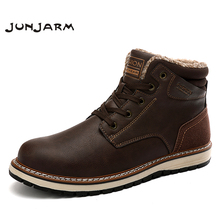 JUNJARM Brand New Winter Fur Supper Warm Plush Snow Boots For Men Adult Male Shoes Non Slip Rubber Casual Ankle 40-46