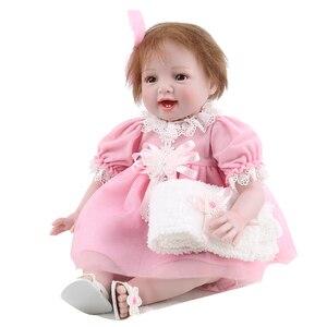 55 см bebe Reborn силиконовые игрушки для девочек смайлик супер милая Кукла Одежда для новорожденных принцесс детская игра DIY игрушка подарок poupee ...