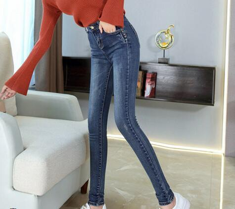 2020 Spring And Autumn Clothing New Slimming Slimming Pencil Long Pants High Waist Jeans Ladies  KT2528-01-08
