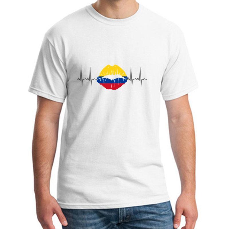>fashion Colombia 2018 <font><b>Ecg</b></font> <font><b>Kiss</b></font> <font><b>Soccer</b></font> World Champions tshirt for men Famous Novelty Leisure homme t shirt tee O-Neck Natural