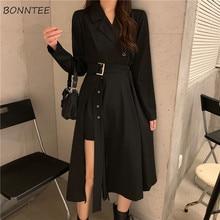 Vestidos de manga comprida feminina vestidos elegantes 2020 mujer faixas elegantes side slit a-line charme vintage midi preto império bf entalhado
