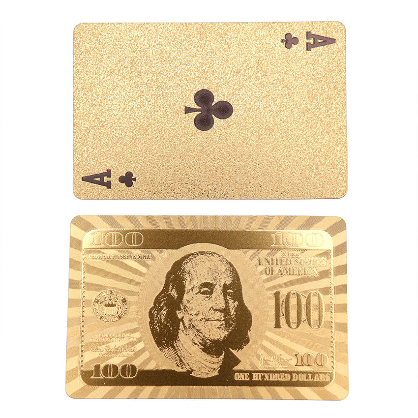 54 Cards/1Set Gold Foil Plastic Waterproof Poker Magic Card Dollar Design Playing Cards Family Entertainment Poker Game