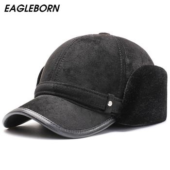 2021 Winter New Baseball Cap Ear Protection Hat Dad Hat Plus Velvet Thick Warm Baseball Cap Suede Russian Bomber Hat for Men