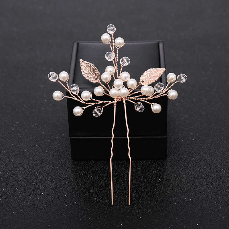 New Rose Gold Flower Crystal Pearl Wedding Hair Pins for Women Bridal Hair Accessories Wedding Headpiece Hair ornaments Jewelry