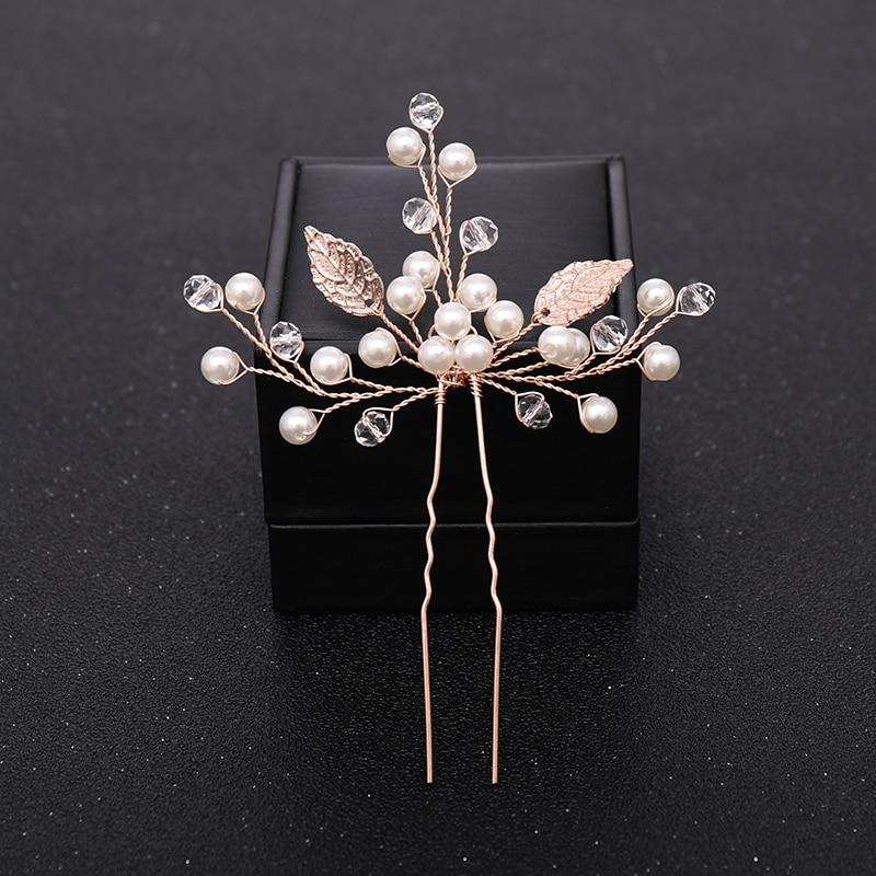 Новинка, женские свадебные заколки для волос с цветком из розового золота, украшенные кристаллами и жемчугом, свадебные аксессуары для волос, свадебные украшения для волос
