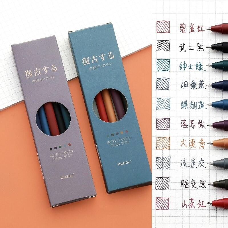 5pcs Retro Color Gel Pen Set 0.5mm Ballpoint Vintage Gray Purple Quick dry Ink Roller Ball Pens Marker Liner Office School F727