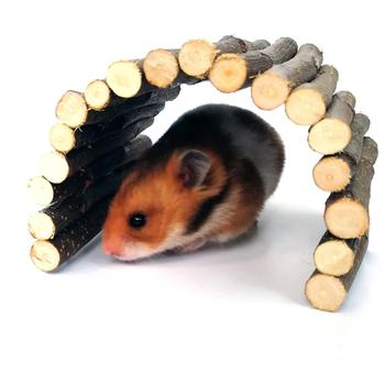 Apple Wooden Arch Bridge Hamster Dodging Tunnel Hamster Molar Toy Pet Rabbit Guinea Pig Supplies 2