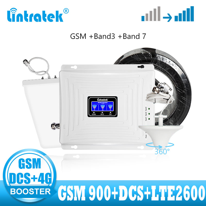 Lintratek Tri Band 2G 3G 4G  Signal Booster GSM DCS 1800 LTE 2600 Mobile Cellular Signal Booster Repeater 4g Internet Amplifier