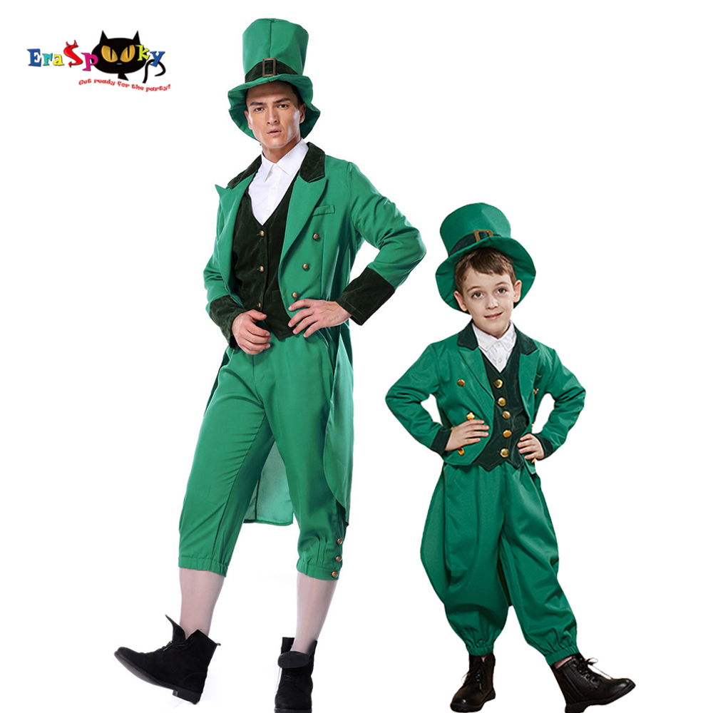 Eraspooky Plus Green Clover Ireland St.Patrick Day Costume Adult Carnival Costume Leprechaun Cosplay Kids Family Fancy Dress Hat