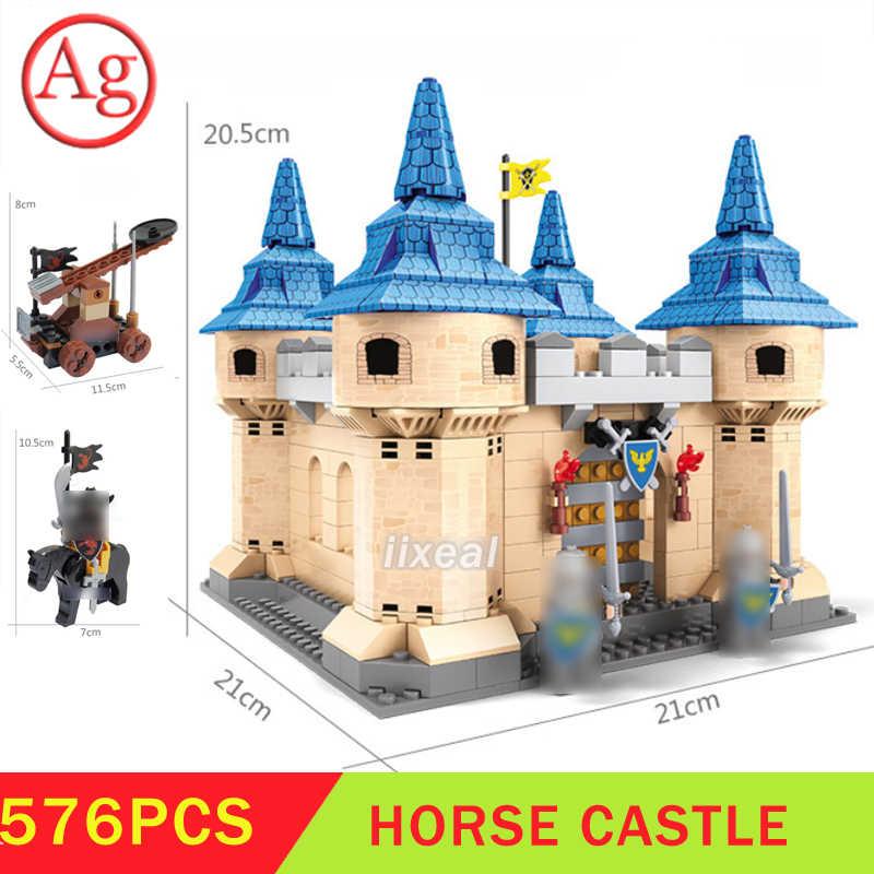 576 stücke Bricks Kompatibel DIY Architektur Mittelalterlichen Ritter Burg Bausteine Stadt MOC Haus DIY Kinder Spielzeug für Kinder