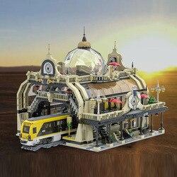 3950 PCS  89104 European Railway Station Building Blocks Assembled Bricks Sets Architecture Birthday Gifts for Friends Kids