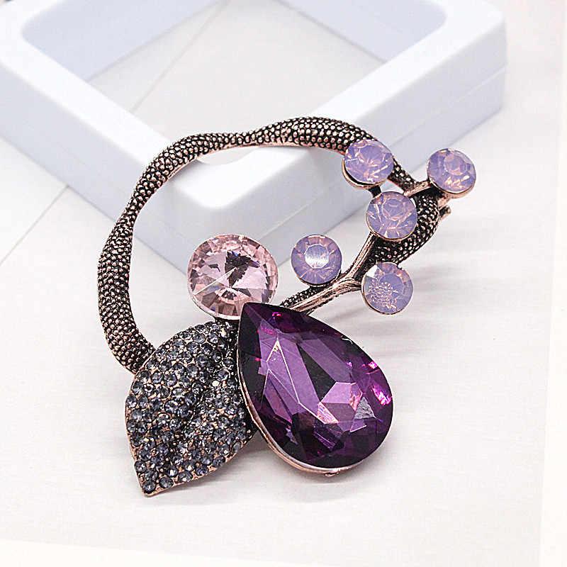 Fashion Besar Daun Bros untuk Wanita 2019 Vintage Asli Ungu Kristal Pin Bros Bunga Tanaman Perhiasan Grosir