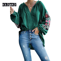 Green/Black/Blue/Pink Relaxing Fit Floral Embroidered Peasant Blouse Top Women Billowy Long Sleeves Casual Loose Autumn Blouse