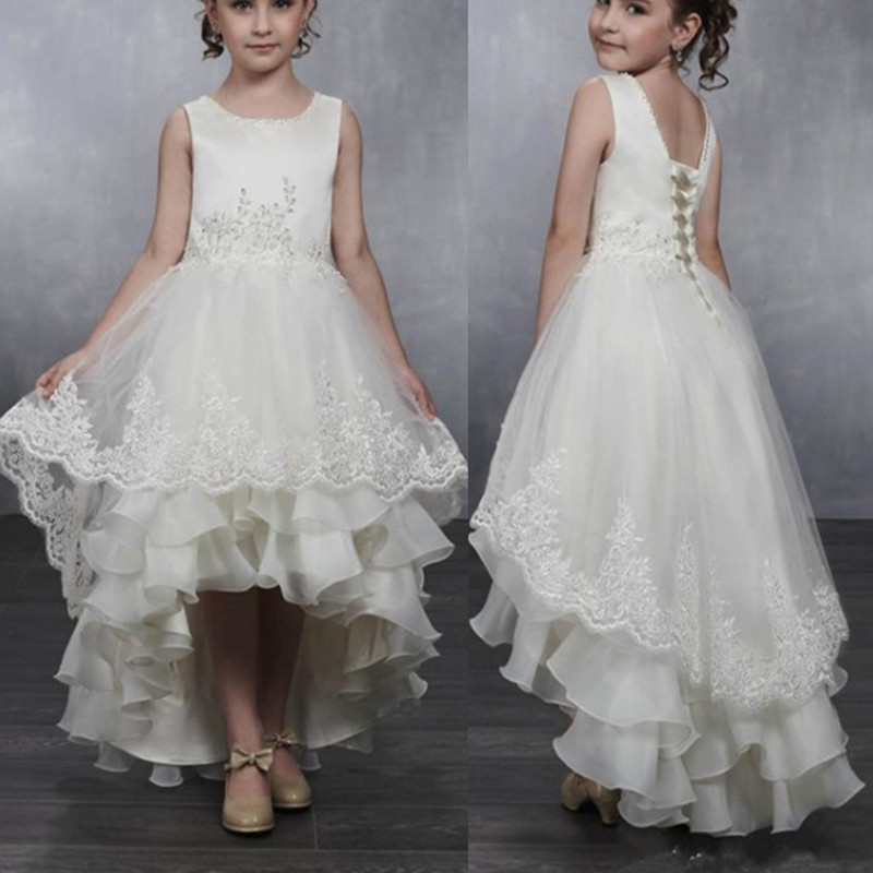 White Ivory  Flower Girl Dresses For Weddings Tulle Princess Gown Lace Half Sleeve Holy First Communion Dresses For Girls