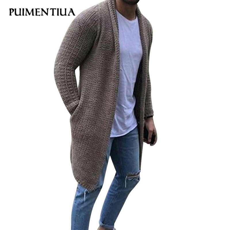 Puimentiua Cardigan Men Long Sleeve Midi Sweater Coat with Pocket Winter and Autumn New Casual Solid Color Cardigans 2019