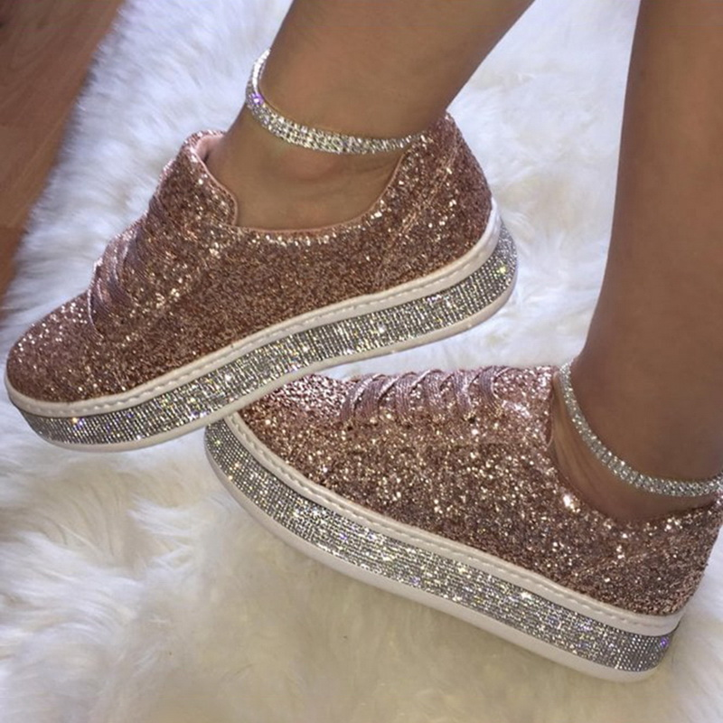 Women Glitter Flat Sneakers Casual Female Mesh Lace Up Bling Platform Comfortable Plus Size Vulcanized Shoes Knitting