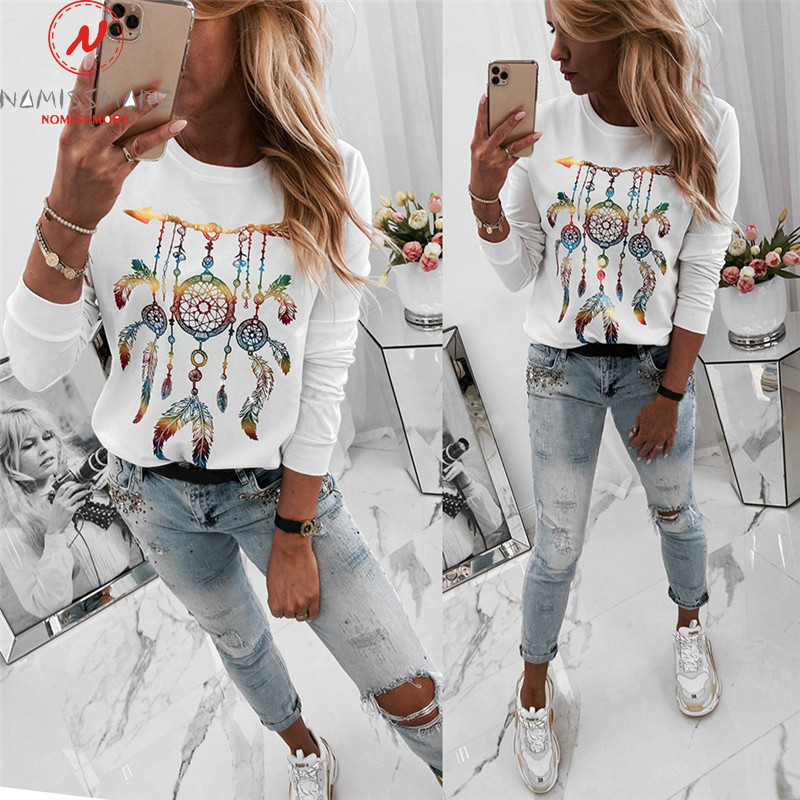 Retro Women Hoodies Patchwork Design O-Neck Long Sleeve Print Autumn Winter Soft Warm Comfortable Pullovers Top for Streetwear
