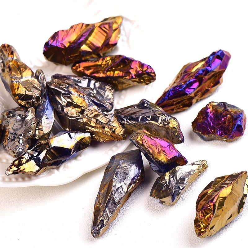 100% Natural Crystal Raw Electroplated Multicolor Aura Quartz Crystal Coarse Gravel Irregular Jewelry Fish Aquarium Home Decor