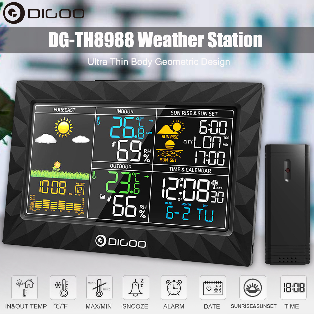 DIGOO DG-TH8988 LCD Color Weather Station + Outdoor Remote Sensor Thermometer Humidity Snooze Clock Sunrise Sunset Calendar