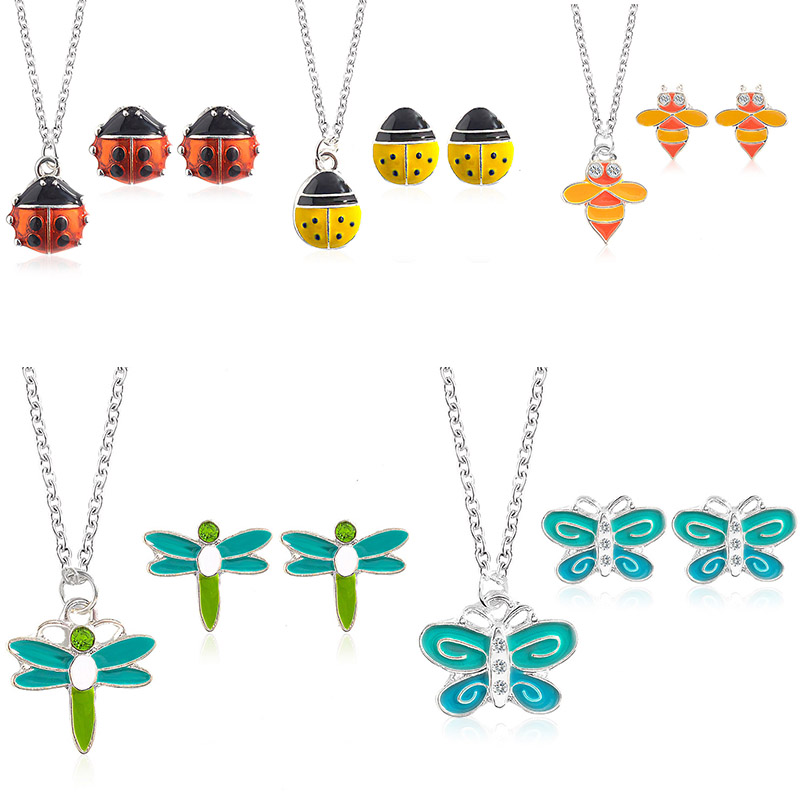 Cute Insect Necklace Earrings Jewelry Sets Cartoon Butterfly Dragonflies Bees Ladybugs Animals Necklace Set Women kids Jewelry