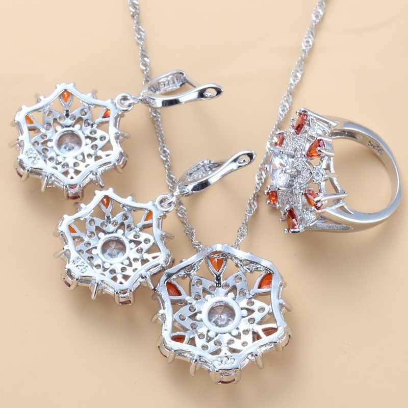 Свадебные аксессуары цветочные комплекты больших украшений 925 серебро натуральный красный гранат cz, висящие сережки и кольцо для женщин наборы