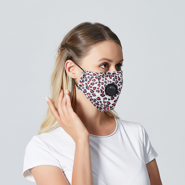 1Set Reusable Mouth Mask Washable Lepard Large Size PM2.5 Filter Mask Anti Dust Face Mask Windproof Mouth-muffle Anti Flu Mask 2