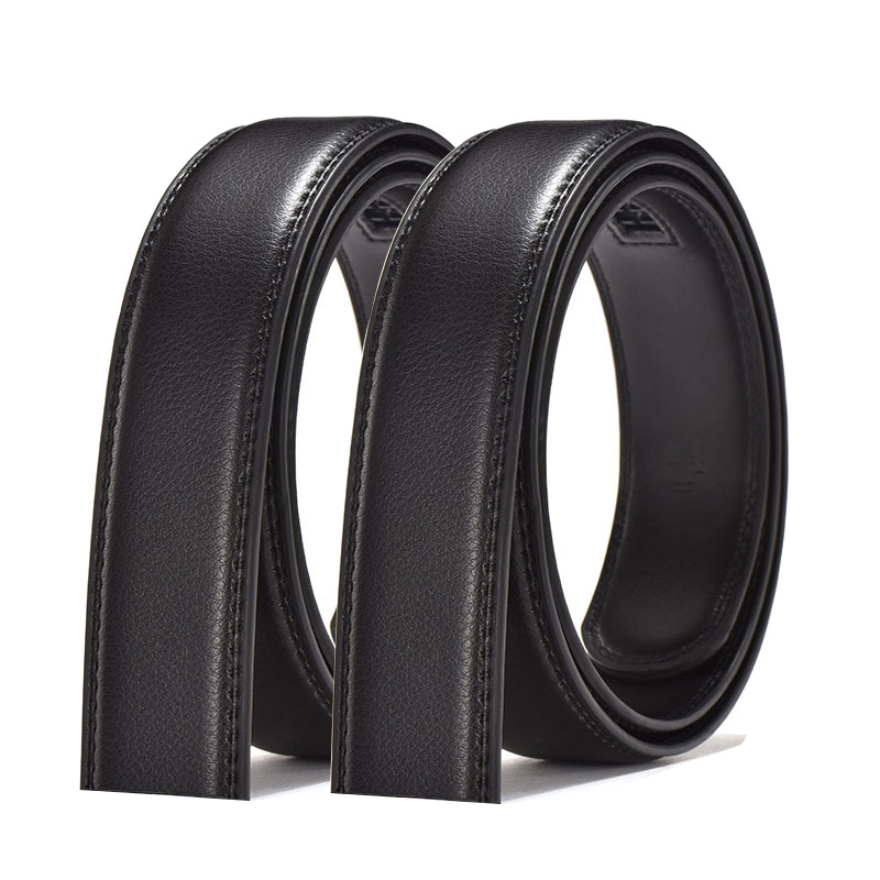 3.5CM   belt   men's   belt   leather automatic buckle business young and middle-aged students   belt   without buckle black