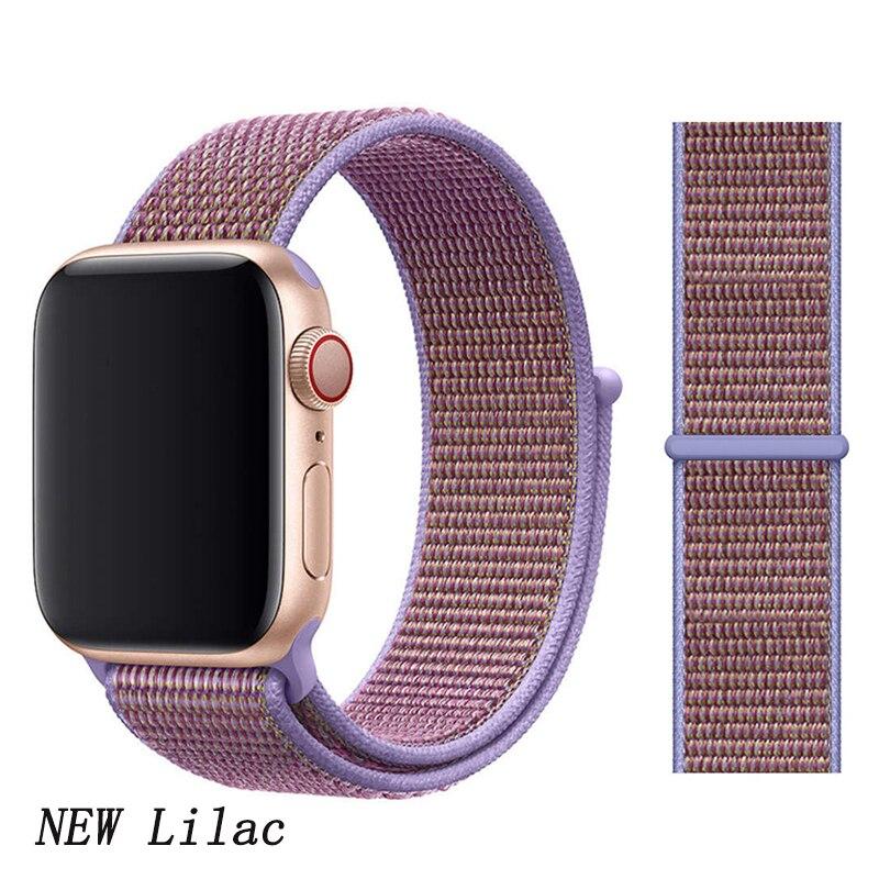 Спортивная петля ремешок apple watch band 42 мм 38 мм apple watch 4 3 band iwatch band 44 мм 40 мм correa pulseira 42 44 нейлоновый ремешок для часов - Цвет ремешка: New Lilac 4
