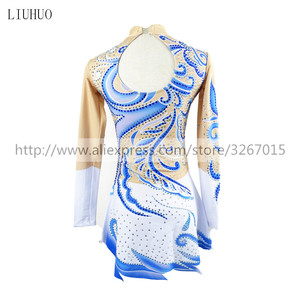 Image 2 - LIUHUO Competition Figure Skating Dress Womens Girls Ice Skating Dress Roller skating long sleeve Adults Kids StandcollarBlue