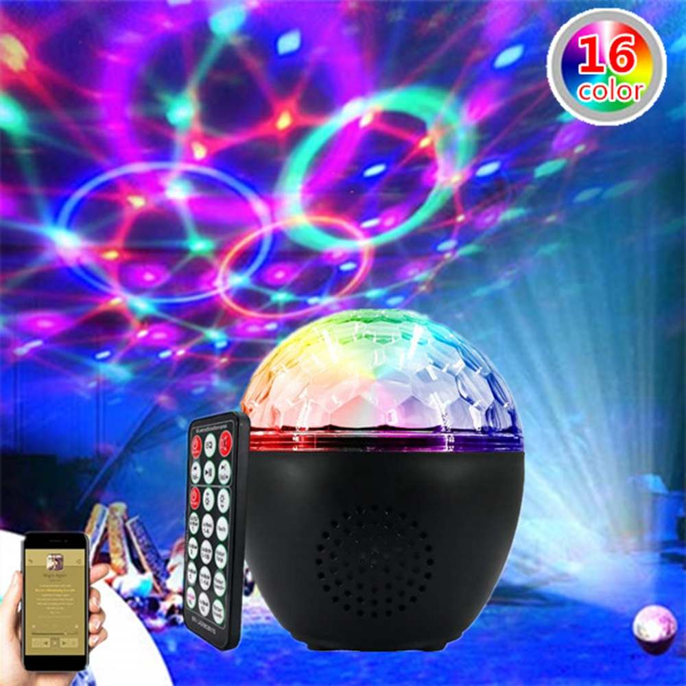 RGB LED Party Effect Disco Ball Light 16 Patterns Music Bluetooth Stage Light Laser Lamp Projector Remote Control Party LED Lamp