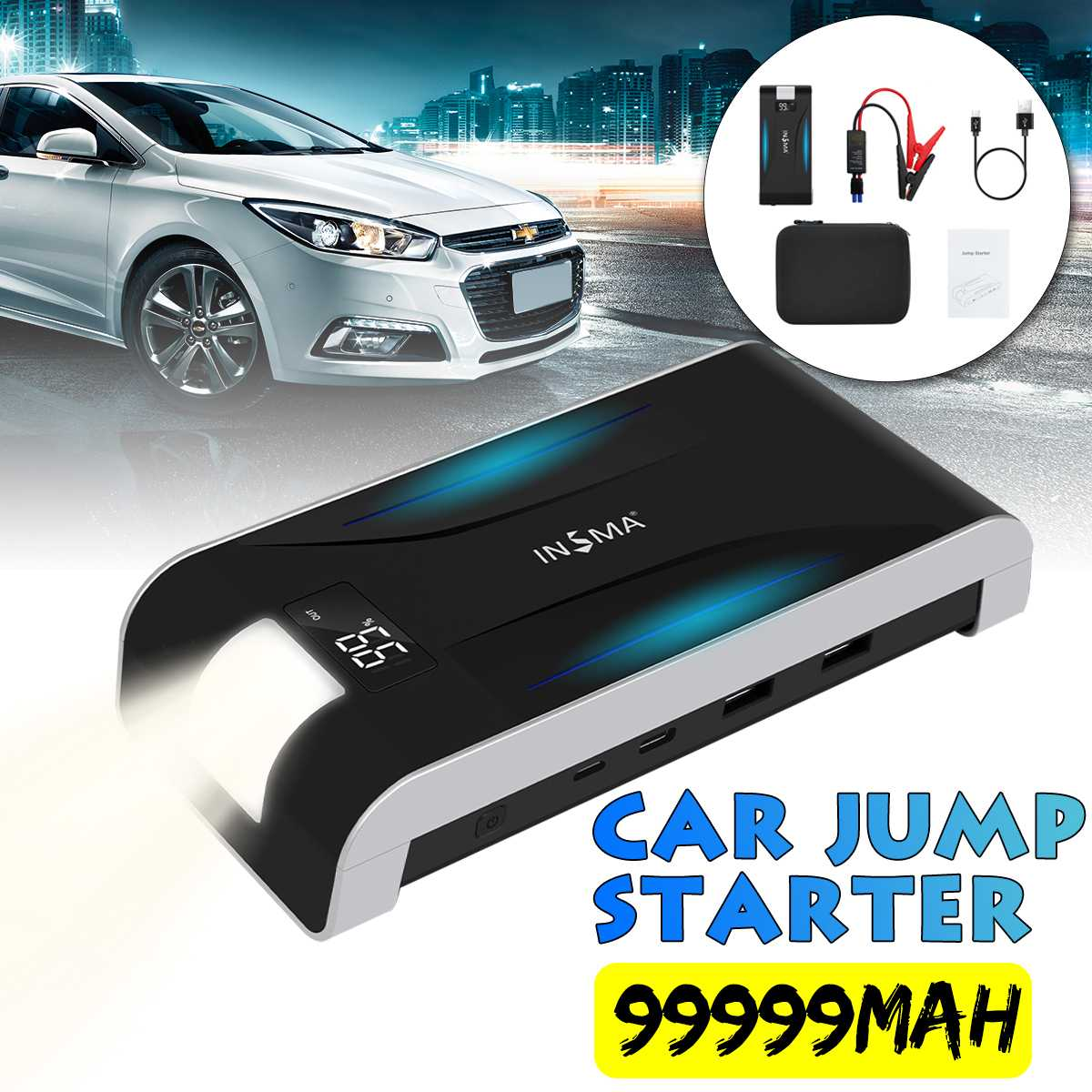 INSMA 99999mAh 4Ports Car Jump Starter Cars Battery Jumper 12V 3.0 Fast Charger USB Type-C Emergency Power Bank SOS LED Flashlig