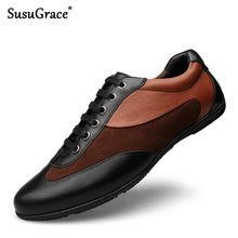 SusuGrace Luxury Genuine Leather Shoes Men Breathable Rubber Casual sneakers Male lace-up Moccasins Quality outdoor footwear Man(China)