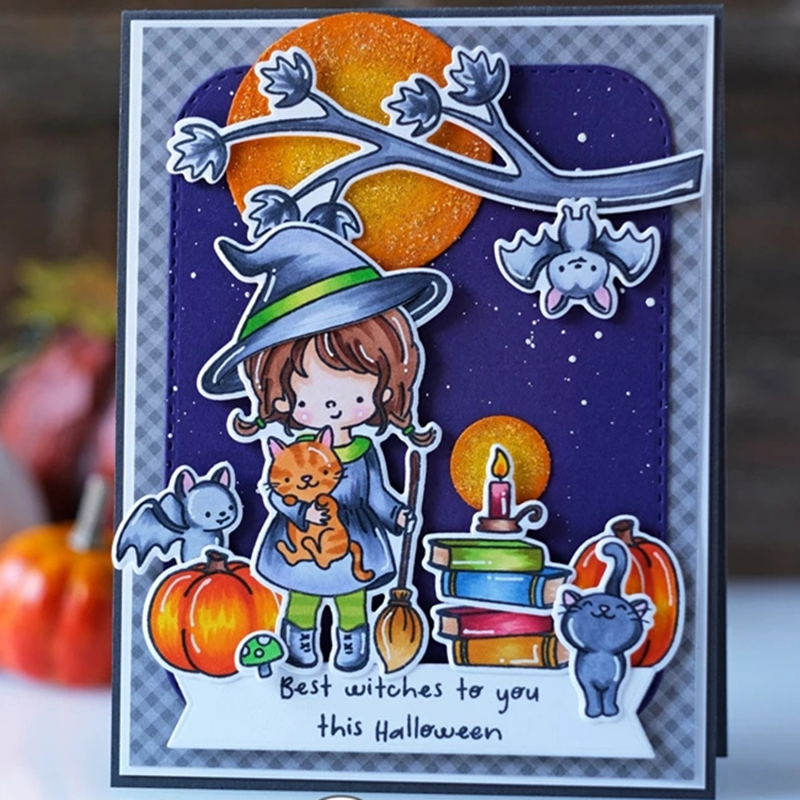 2019 New Metal Cutting <font><b>Die</b></font> <font><b>and</b></font> In Scrapbooking For Paper Making Christmas <font><b>Halloween</b></font> Witch Bat Cat Embossing Frame Card <font><b>Stamp</b></font> Set image