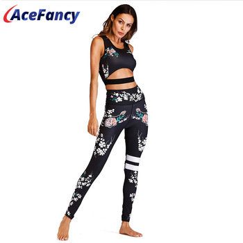 Acefancy Yoga Set Fitness Print Leggings Push Up Crop Rop  Bra Clothing Gym Woman ZC1792 Fitness Sets Sport Wear Outfit  Women 1