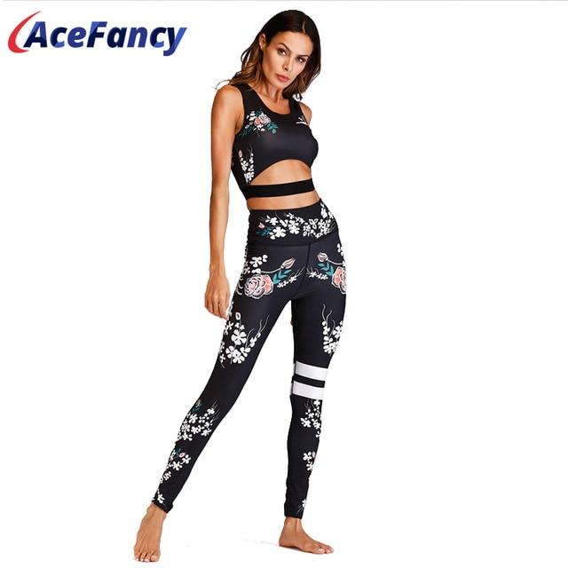 Acefancy Yoga Set Fitness Print Leggings Push Up Crop Rop  Bra Clothing Gym Woman ZC1792 Fitness Sets Sport Wear Outfit  Women 1