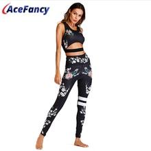 Acefancy Yoga Set Fitness Print Leggings Push-Up Crop Rop Bh Kleidung Gym Frau ZC1792 Fitness Sets Sport Wear Outfit frauen
