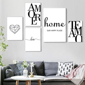 Nordic Quote Words Poster Black and White Canvas Painting Love Amore Minimalism Wall Art Pictures for Living Room Home Decor