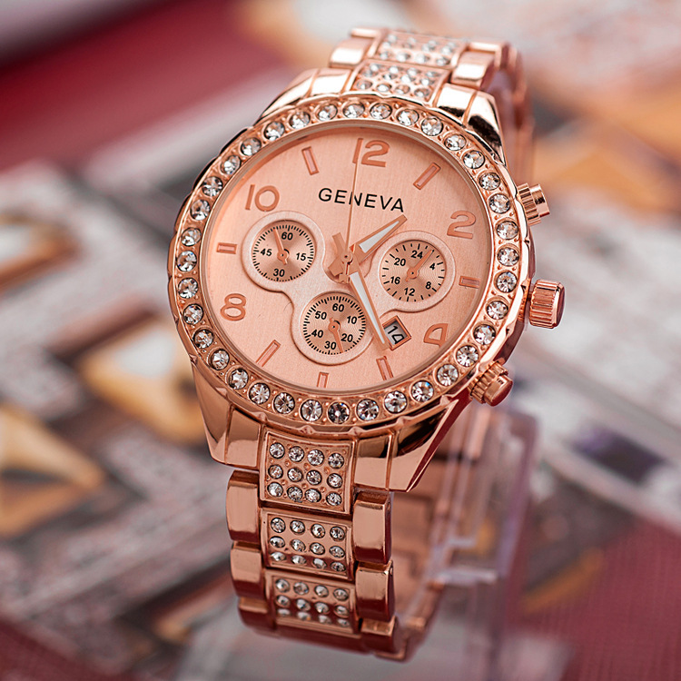 Luxury Brand Geneva Watches With Calenda Women Fashion Wristwatch Crystal Rhinestone Ladies Gold Quartz Watch Relogio Feminino