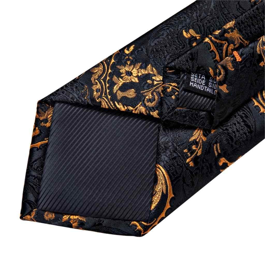 Cravatta uomo Nero Oro Paisley Da Cerimonia Nuziale di Qualità Cravatta Per Gli Uomini Hanky Gemello Cravatta di Seta Set DiBanGu Disegno Della Novità Del Partito di Business MJ-7313
