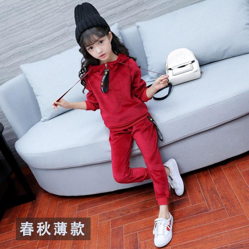 Autumn New Girls Sports Suit Gold Velvet Children's Clothing Suit Baby Kids Sportswear Big Girl Hoodie Shirt + Pants Suit Winter