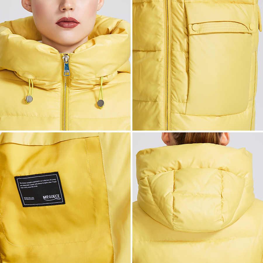 Miegfce 2019 chaqueta de invierno para mujer chaqueta a prueba de viento con un cuello de pie Parka de invierno con cremallera y bolsillos de parche