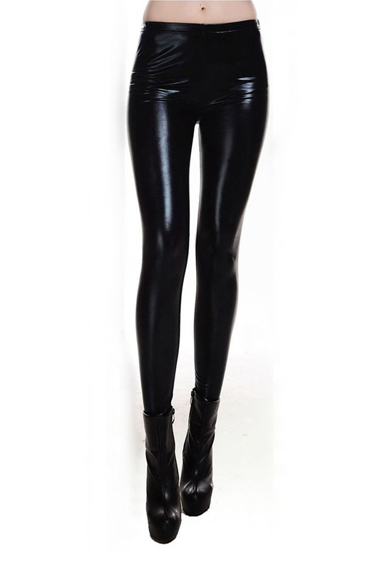 Metallic Wet Look Liquid Leggings Shiny Stretch Women Pencil Pants(black)