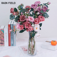Artificial Flower Bouquet Single Branch Silk Home Wedding Decoration Fake Embroidery Live Red